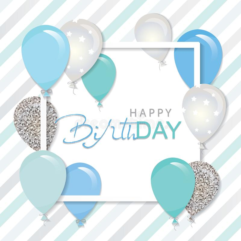 Balloons in paper cut out square frame. Birthday and boy baby shower design. Blue and silver glitter. royalty free illustration