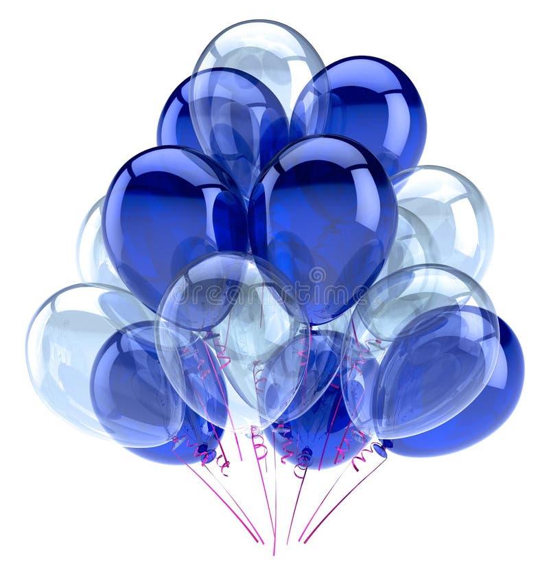 Balloons party happy birthday decoration blue white glossy vector illustration