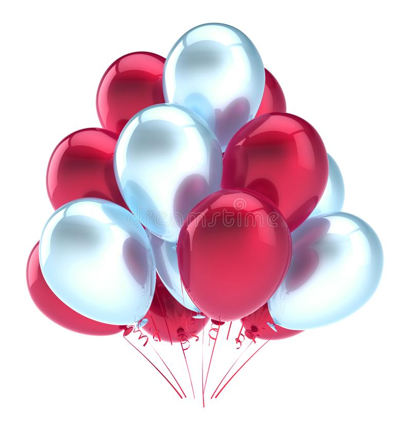 Balloons party happy birthday decoration red white glossy stock illustration