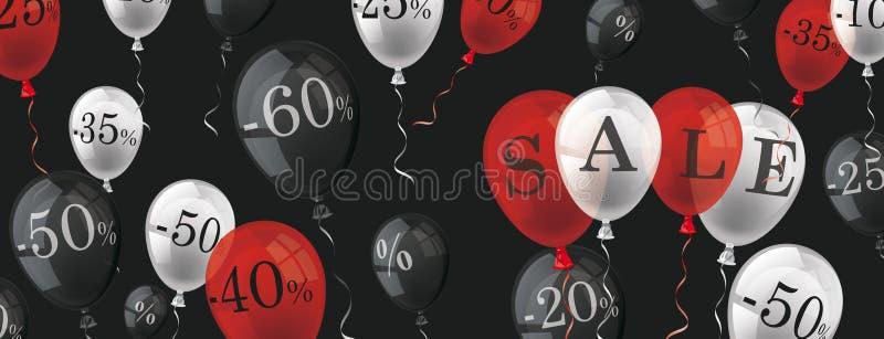 Balloons Percents Sale Black Header vector illustration