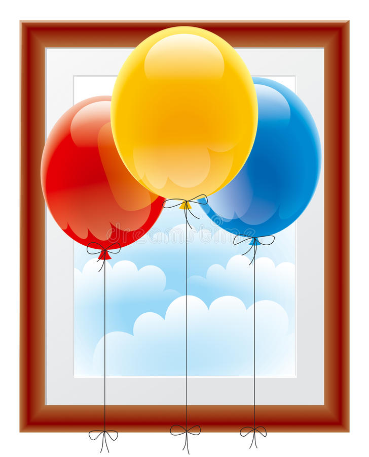 Balloons with a picture frame stock illustration