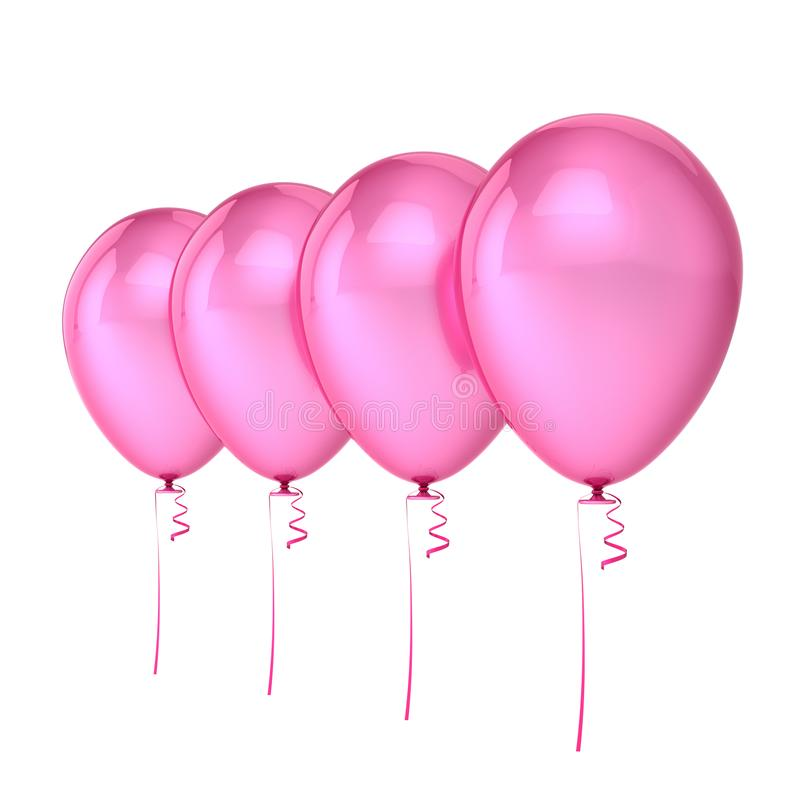 Balloons 4 pink party birthday decoration, four helium balloon row. Arranged. Holiday, celebrate, anniversary greeting card, invitation background. 3d royalty free illustration