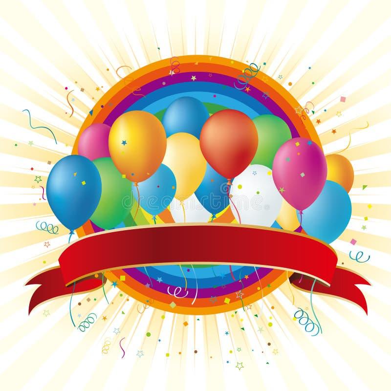 balloons and rainbow royalty free illustration