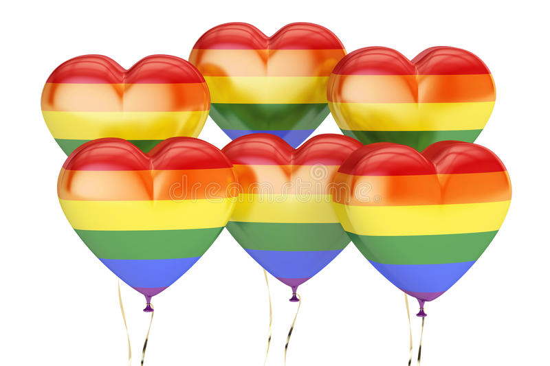 Download Balloons With Rainbow Gay Pride Flag In The Shape Of Heart, 3D R Stock Illustration - Image: 83715118