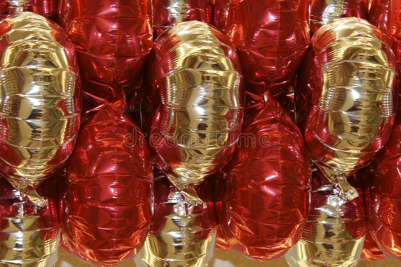 Balloons of red and gold for celebration stock images