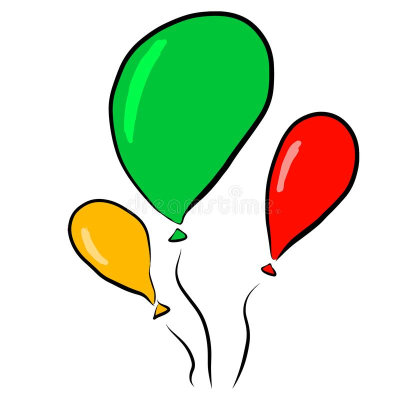 Balloons red, green, yellow on stock illustration