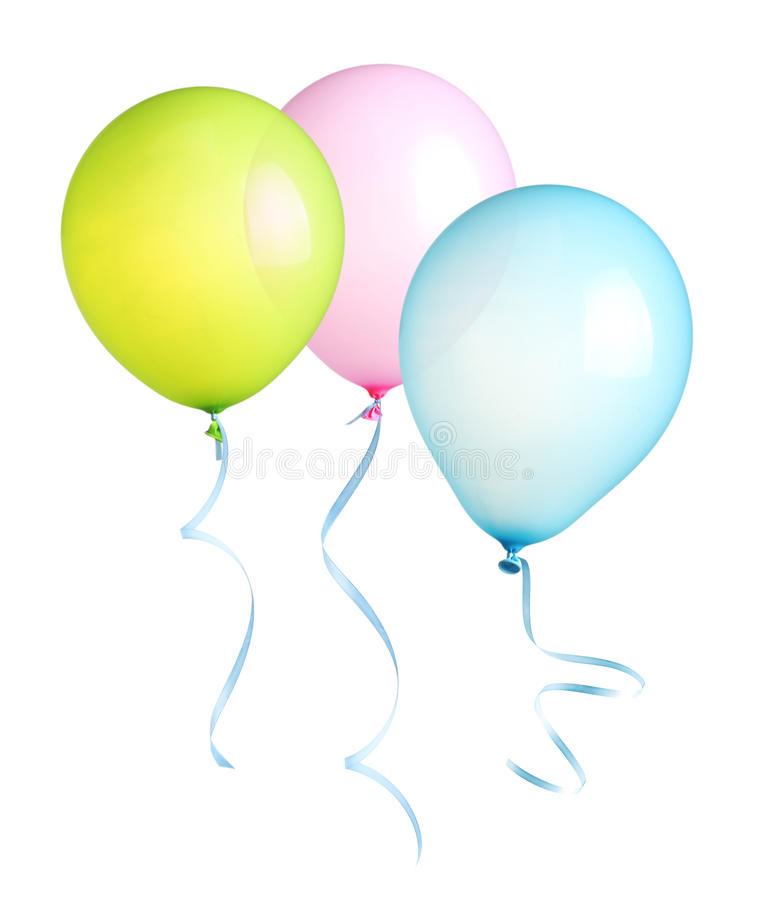 Balloons with ribbon isolated royalty free stock photography