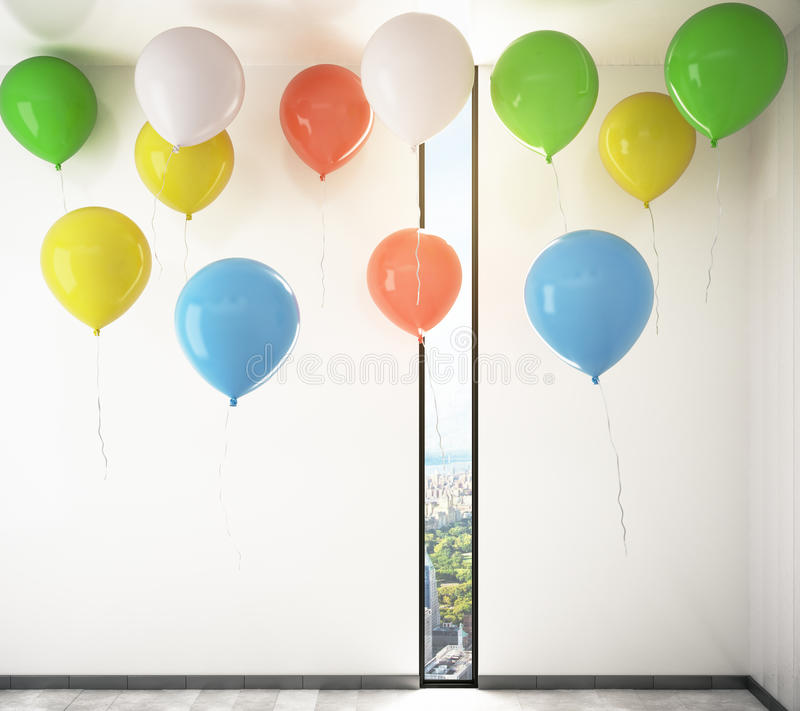 Balloons in room royalty free illustration
