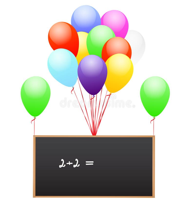 Balloons and school board vector illustration