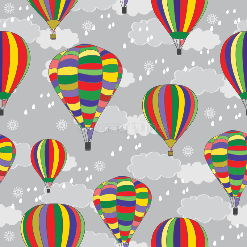 Balloons. Seamless texture. Balloons on the background of the autumn sky. Design for textiles. Seamless texture vector illustration
