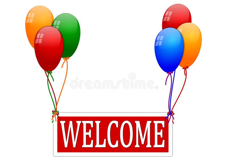 Balloons with a sign saying royalty free illustration