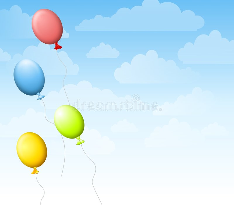 Balloons in The Sky Background royalty free illustration