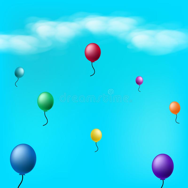 Balloons in the sky with clouds abstract background vector illus vector illustration