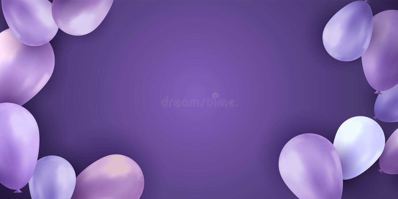 Balloons sky. Party background. Colorful realistic flyer. Birthday vector banner. Bright balloon. royalty free stock photo