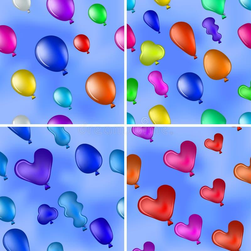 Balloons in sky, seamless, set stock illustration