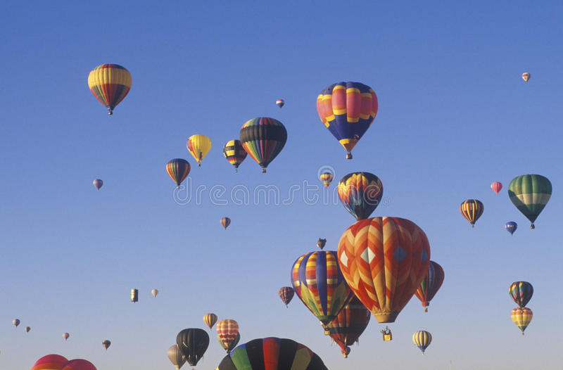 Balloons take to the air at the Albuquerque International Balloon Fiesta in New Mexico stock photography