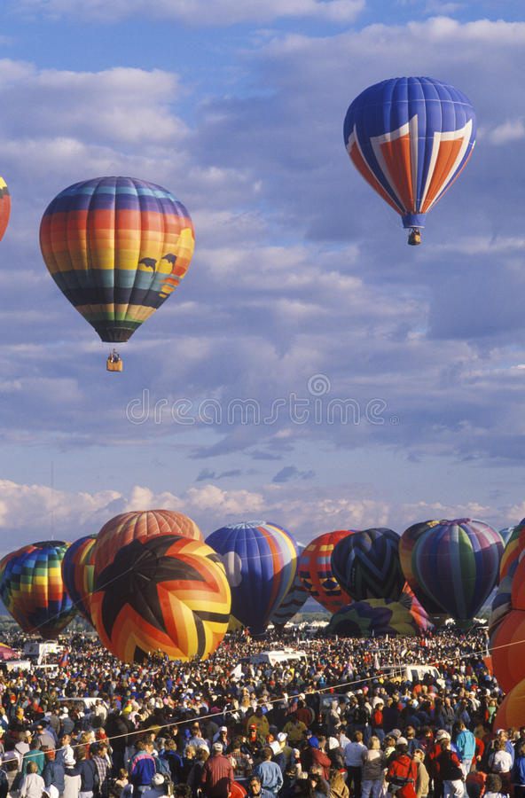 Balloons take to the air at the Albuquerque International Balloon Fiesta in New Mexico royalty free stock photo