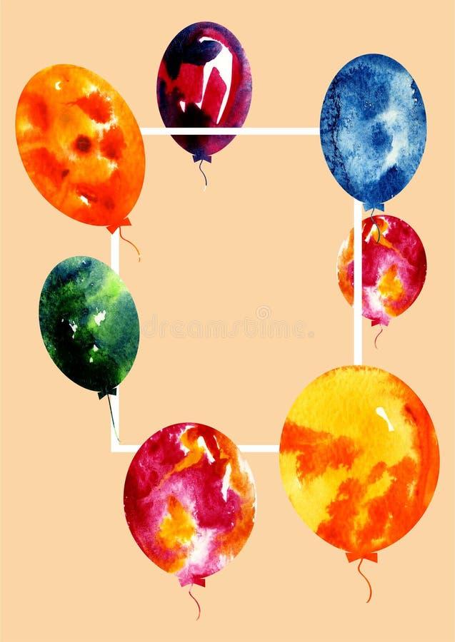 Balloons3 variopinto isolato su un fondo trasparente illustrazione di stock