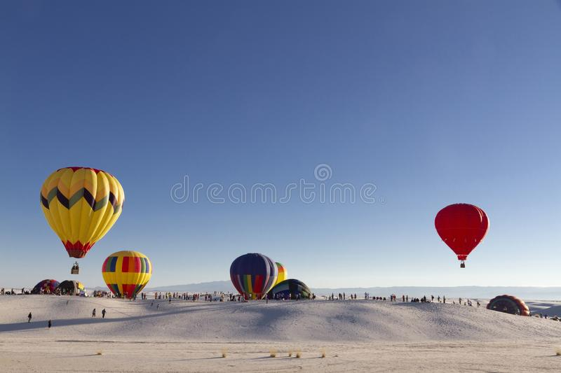 Balloons at White Sands National Monument, New Mexico, USA stock photography