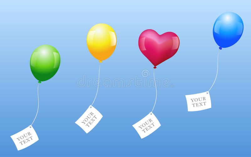 Balloons Wishes. Four balloons with blank letters are sent out for wishes come true royalty free illustration