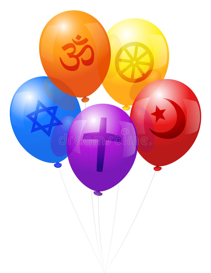 Balloons World Religions. Five balloons, which are labeled with symbols of the five world religions: Christianity (purple), Hinduism (orange), Judaism (blue) royalty free illustration