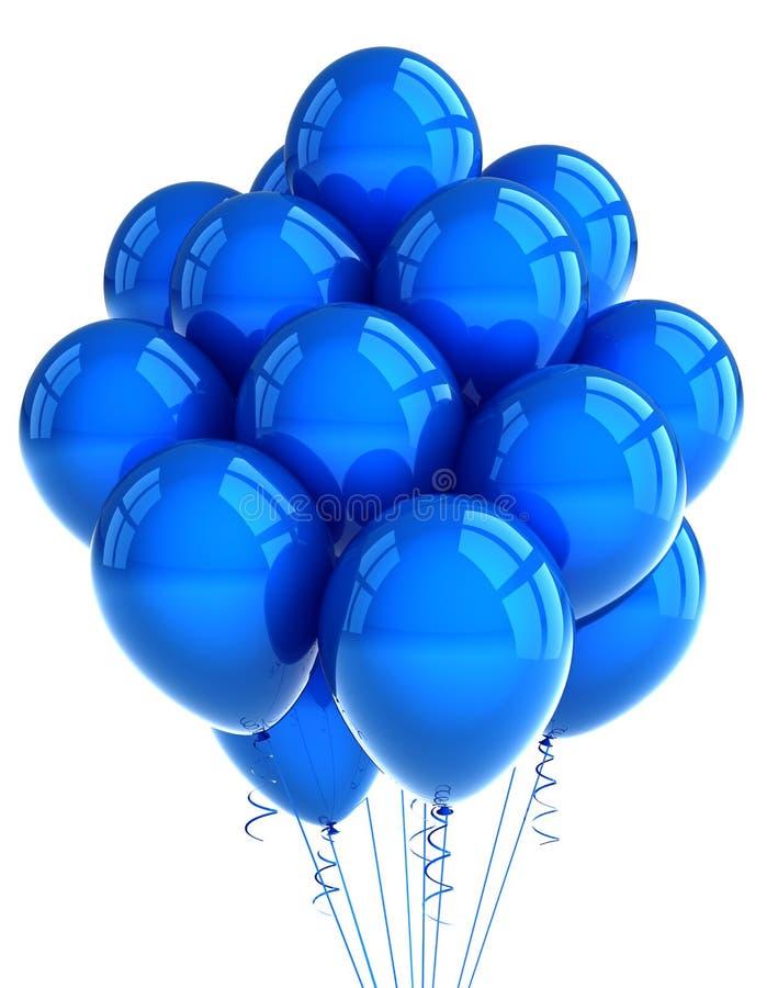 Ballooons azuis do partido ilustração stock
