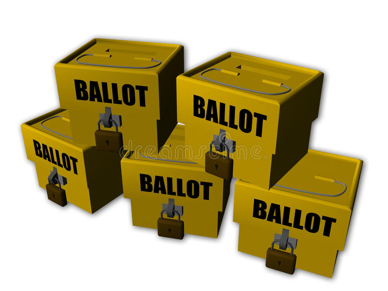 Ballot box. An isolated group of ballot box on a white background royalty free illustration