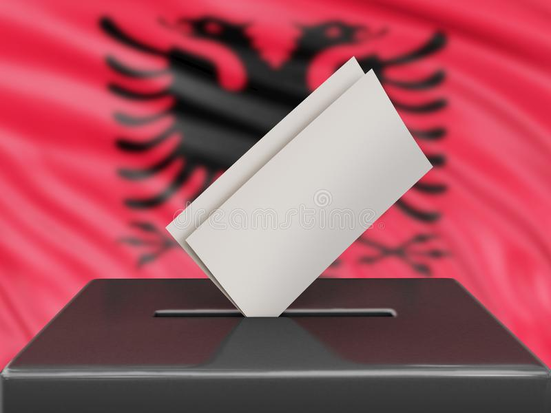 Ballot box with Albanian flag on background. 3d Image of Ballot box with Albanian flag on background stock illustration