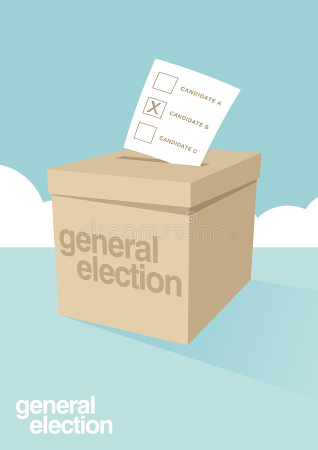 Ballot Box for an election. A ballot box for voting in a general election stock illustration