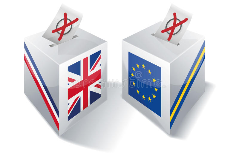Ballot box with Europe and the UK. And brexit stock illustration