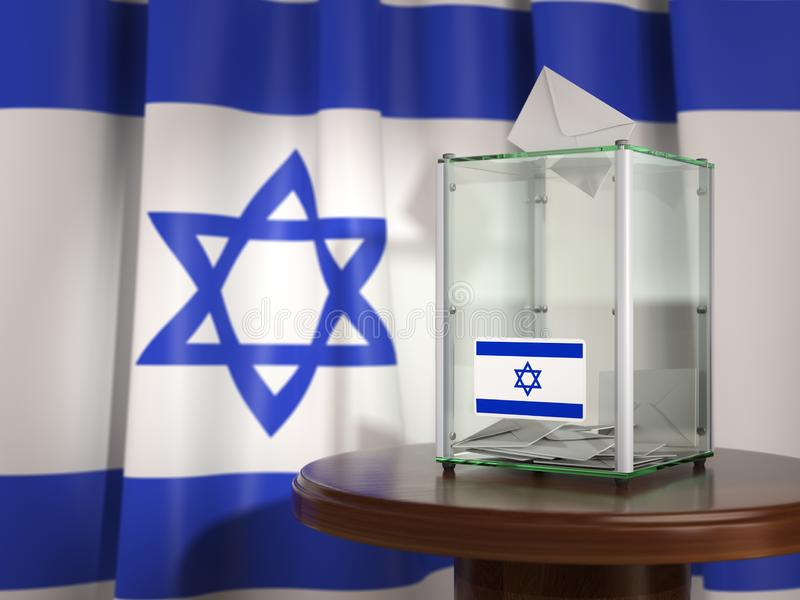 Ballot box with flag of Israel and voting papers. Israelitish pr royalty free illustration