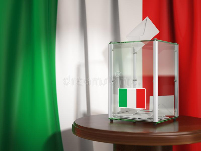 Ballot box with flag of Italy and voting papers.Italian resident vector illustration