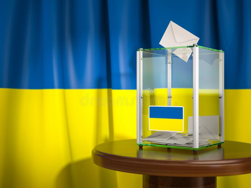 Ballot box with flag of Ukraine and voting papers. Ukrainian presidential or parliamentary election. 3d illustration vector illustration