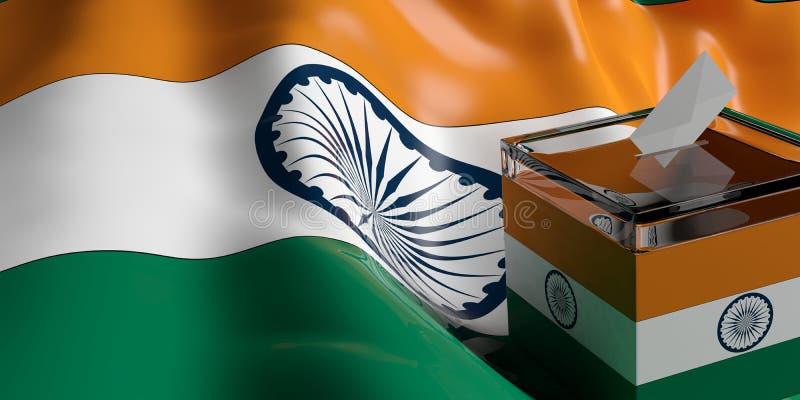 Ballot box on India flag background, 3d illustration stock illustration