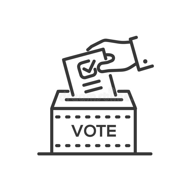 Ballot box - line design single isolated icon. On white background. High quality black pictogram. An image of a hand with a ticked blank, a person is giving a vector illustration
