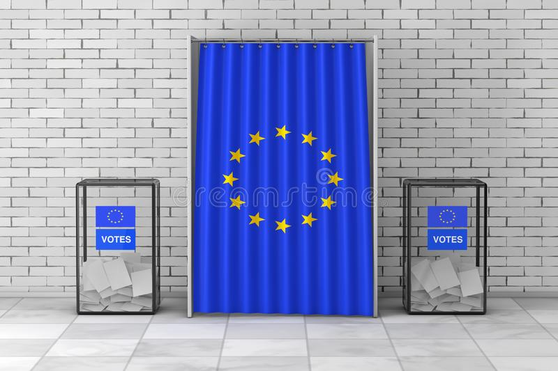 Ballot Boxes near White Voting Booth with Curtain and European Union Flag. 3d Rendering stock illustration