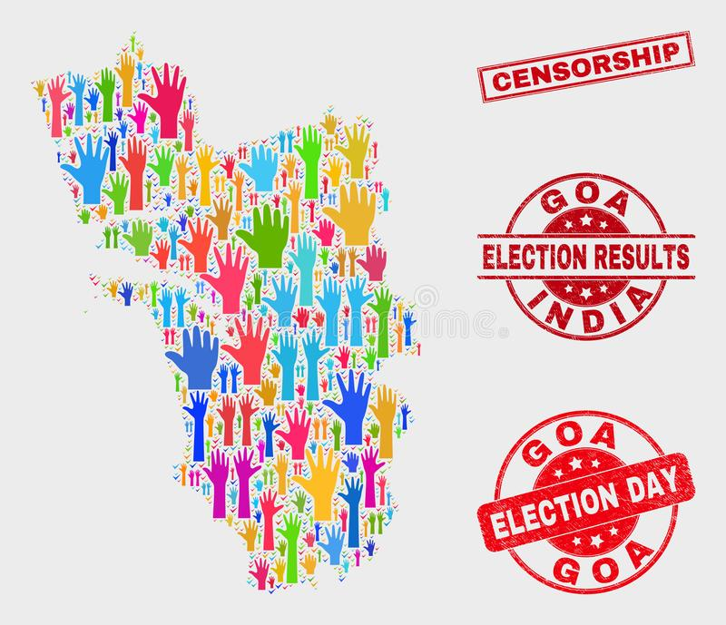 Collage of Poll Goa State Map and Scratched Censorship Stamp Seal. Ballot Goa State map and stamps. Red rectangular Censorship scratched watermark. Colored Goa royalty free illustration