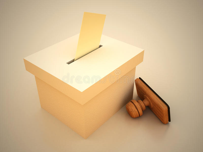 Ballot and stamp. With envelope 3D RENDERED stock illustration