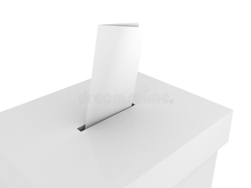 Ballot vote box with bulletin on white. 3d royalty free illustration