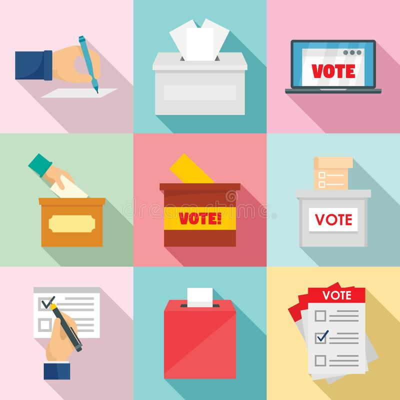 Ballot voting box vote icons set, flat style royalty free illustration