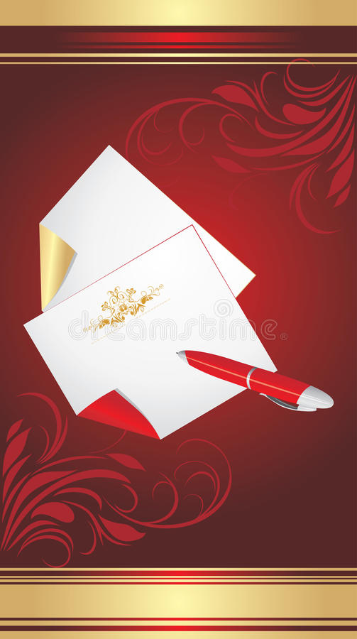 Ballpen and pure pages on decorative background royalty free stock photography