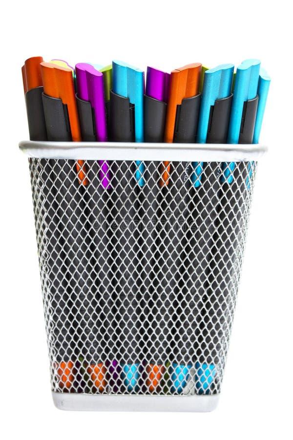 ballpoint barwionych właścicieli wielo- ołówkowi pióra zdjęcie royalty free