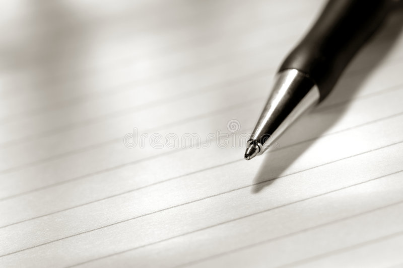 Download Ballpoint Ink Pen On Sheet Of Blank Paper Stock Photo - Image: 7124802