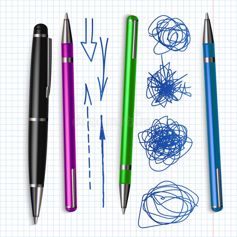 Ballpoint Pen And Hand Drawn Doodle Set Vector. Collection Of Different Color Bright Ballpoint And Sketch Scribble With Arrow Line. Ink Grunge And Writing vector illustration