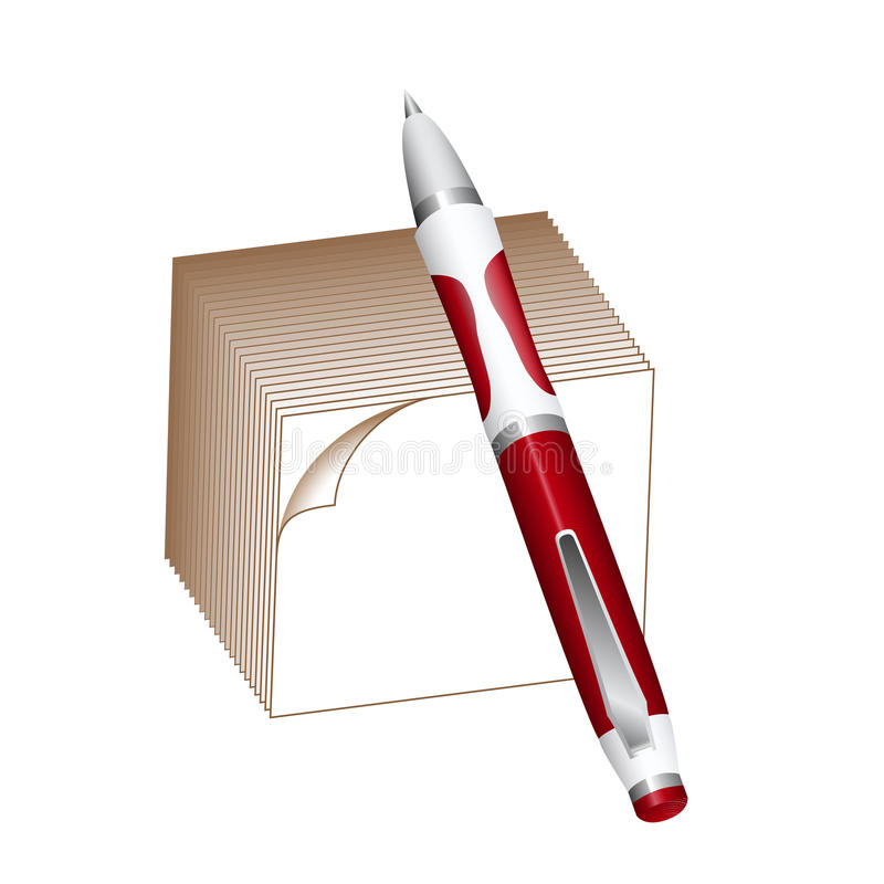 Download Ballpoint Pen And Note Block Stock Vector - Image: 26385204