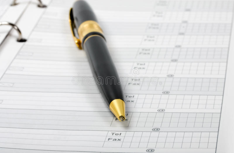 Download Ballpoint Pen In Phone Book Business Stock Image - Image: 19909941
