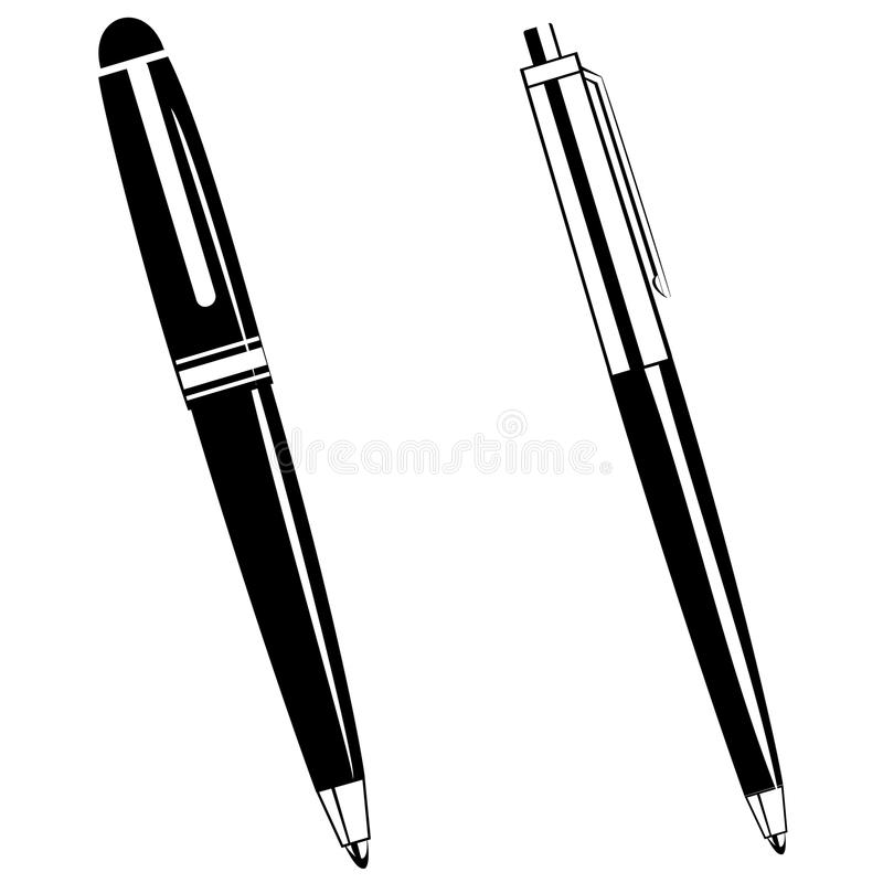 ballpoint pens stock vector illustration of black print 64589092 rh dreamstime com pen clip art black and white pen clipart transparent