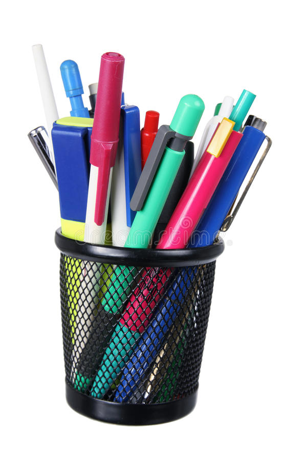 Ballpoint Pens. On White Background royalty free stock photo