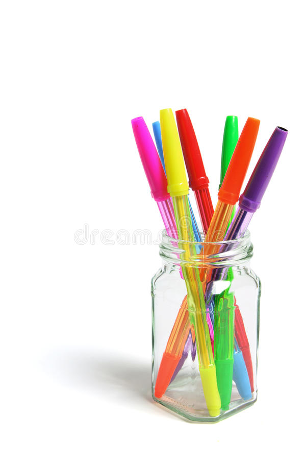 Download Ballpointen In De Kruik Van Het Glas Stock Foto - Afbeelding bestaande uit ballpoint, pennen: 10777390