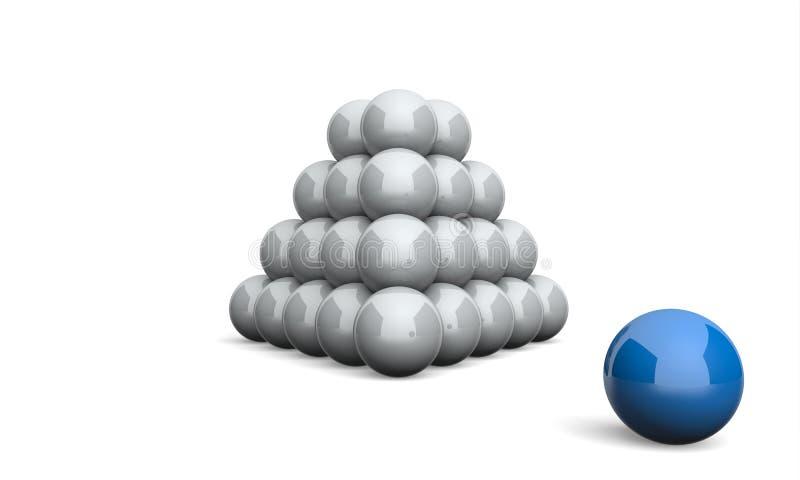 Ballpyramiden-Konzeptblau 5 der Illustrations-3D lizenzfreie abbildung